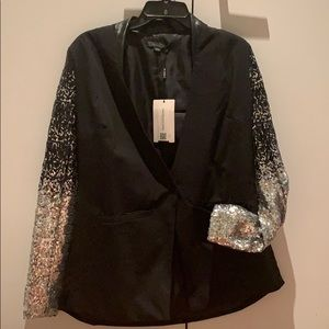 Sequin Sleeve black blazer